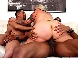 Voluptuous Blonde In A Sexy, Crimson Sundress, Kendra Kox Got Down And Dirty With Two Black Guys