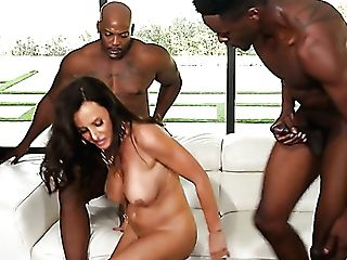 Amazingly Voracious Cougar Lisa Ann Hops On Big Black Cock While Sucking The Other Black Contraption