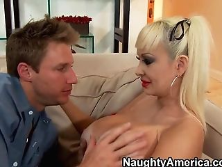 Lickerous Hot Blonde Brittany O'neil Pampering Her Gigantic Melons