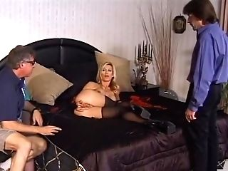 Blonde Tart In Crimson Undergarments Is A Chisel Whore