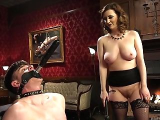 Fuckfest-starved Mistress Cherry Ripped Is Fucking Enslaved  Dude And Loves Quenning