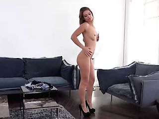 Lara West Is Wearing A Black, Fishnet Sundress And High Stilettos While Making A Porno Movie