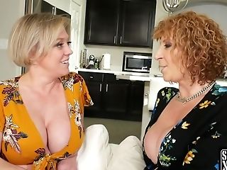 Big Titted Women Are Taking Turns Sucking A Big, Black Dick, During An Interracial Threesome