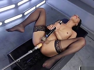 Stockinged Dark-hued Stunner Machine Fucked