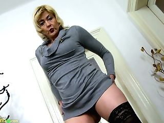 Old Insatiable Babysitter Is Playing With Her Saggy Tits And Worn Out Out Vag