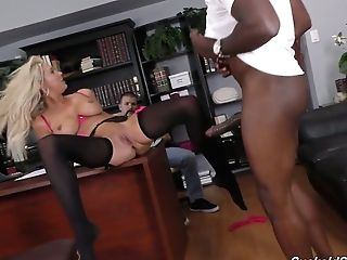 Exotic Chief Likes Watching How His Platinum-blonde Assistant Lexi Lowe Gets Blacked