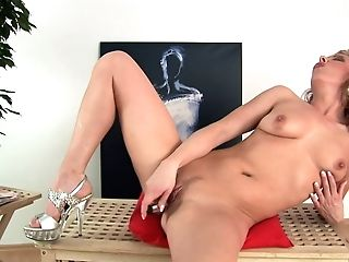 Horny Blonde Fuck-a-thon Junkie Nikita Schot Stripteases And Fucks Herself With Electro-hitachi