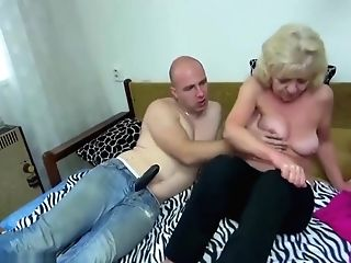 Old Chubby Granny In The Couch Has Intercourse With Horny Man
