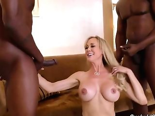 Amazing Blonde Woman In Erotic, Green Undergarments, Brandi Love Is Having Fucky-fucky With Magnificent, Black Guys